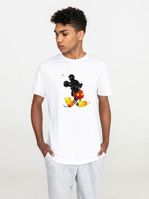 T-shirt męski biały Akwarelowy Mickey Love&Live