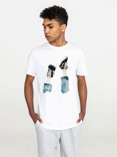 T-shirt męski biały Nogami do gódy Love & Live