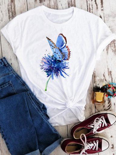 T-shirt biały Błękitny motyl Love&Live
