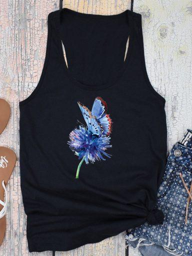 Czarna koszulka na ramiączkach Niebieski motyl Love&Live