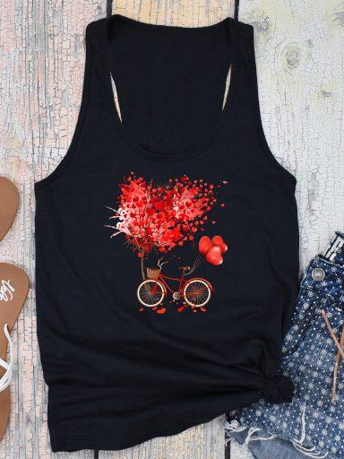 Koszulka na ramiączkach czarna Drzewo miłości Love&Live