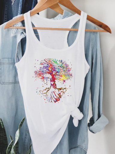 Biała koszulka na ramiączkach Drzewo życia Love&Live