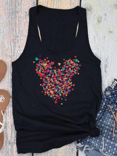Czarna koszulka na ramiączkach Części miłości MINNIE Love&Live