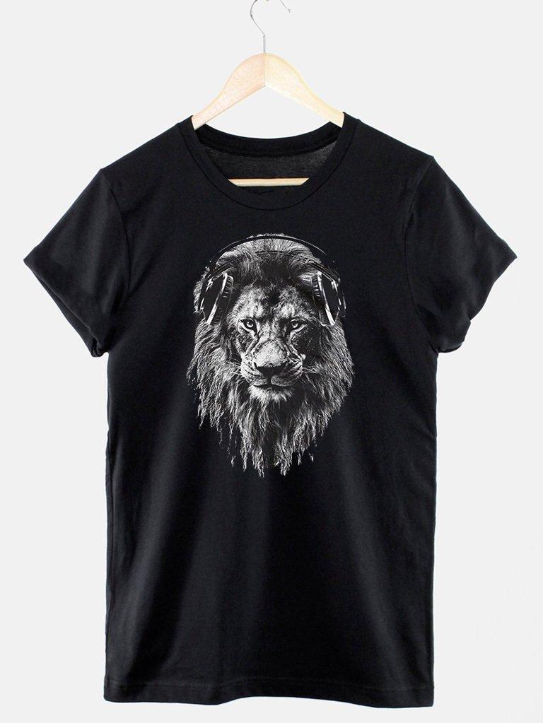 T-shirt męski czarny Lew Meloman Love&Live