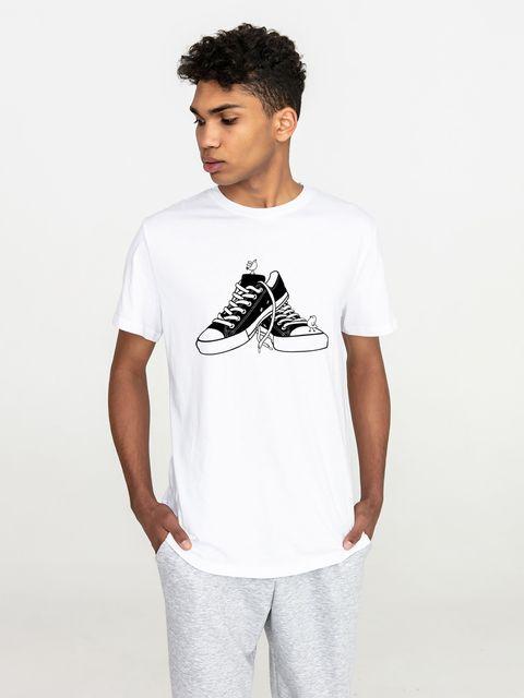 T-shirt męski biały Trampki dla ptaków Love&Live