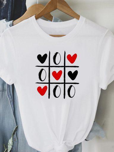 T-shirt biały Gra w Serdca Love&Live