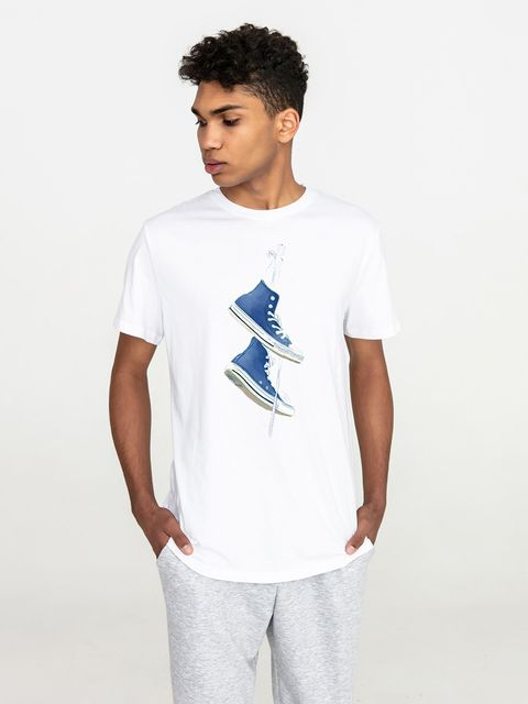 T-shirt męski biały Niebieskie trampki Love&Live