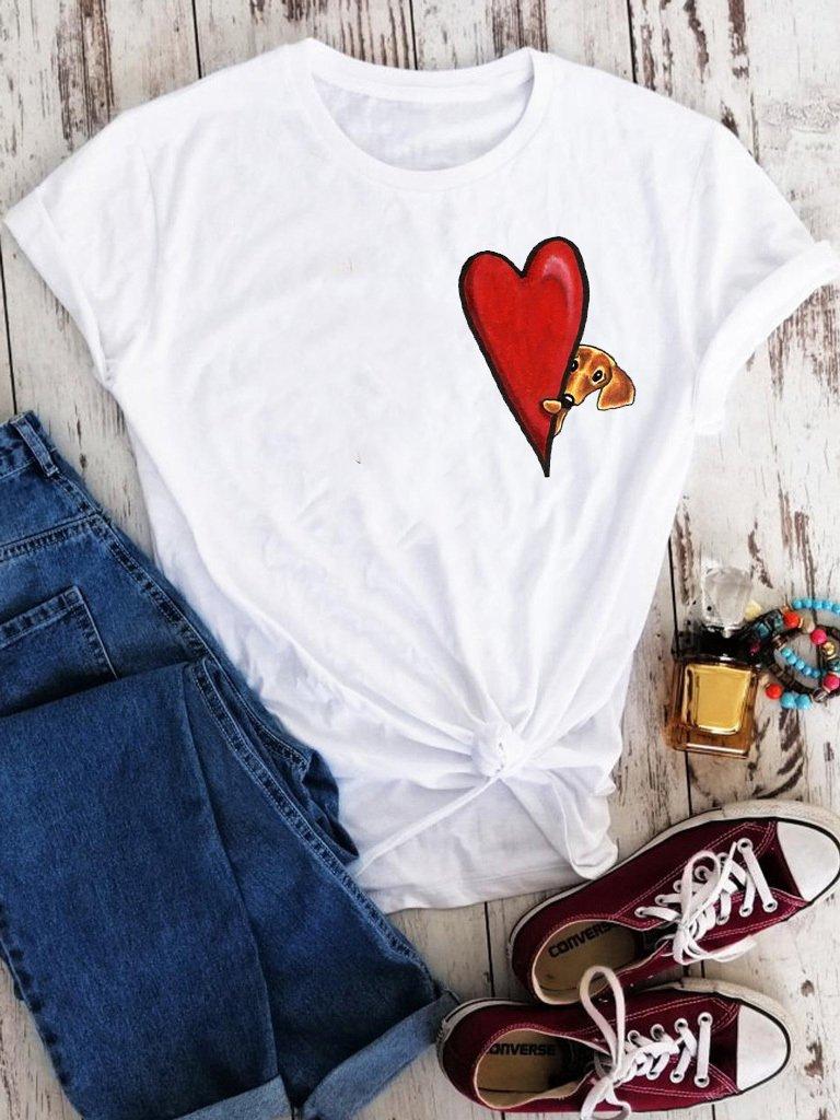 T-shirt biały Serce psa Love&Live