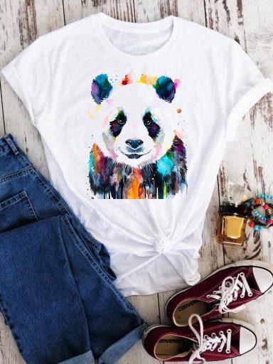 T-shirt biały Kolorowa panda Love&Live