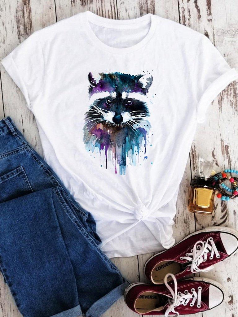 T-shirt biały Color raccoon Love&Live
