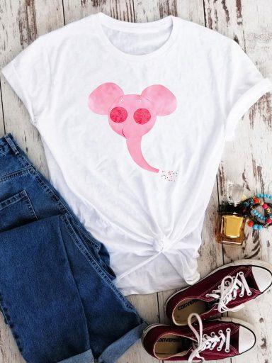 T-shirt biały Różowy słoń Love&Live