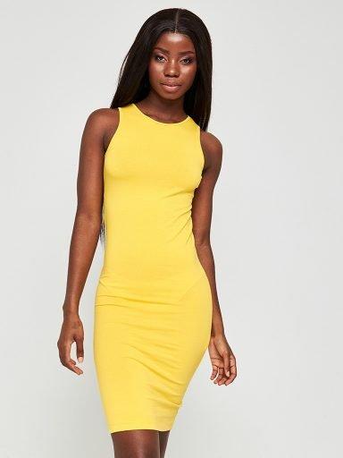 Sukienka mini w kolorze żółtym z kieszonką Love&Live