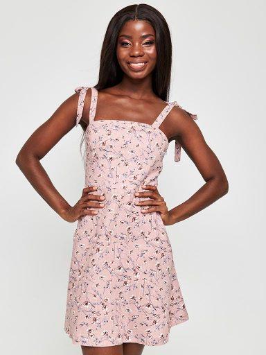 Sukienka mini w kwiaty na ramiączkach Love&Live