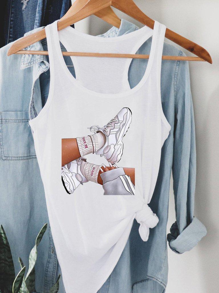 Biała koszulka na ramiączkach BE KIND Love&Live