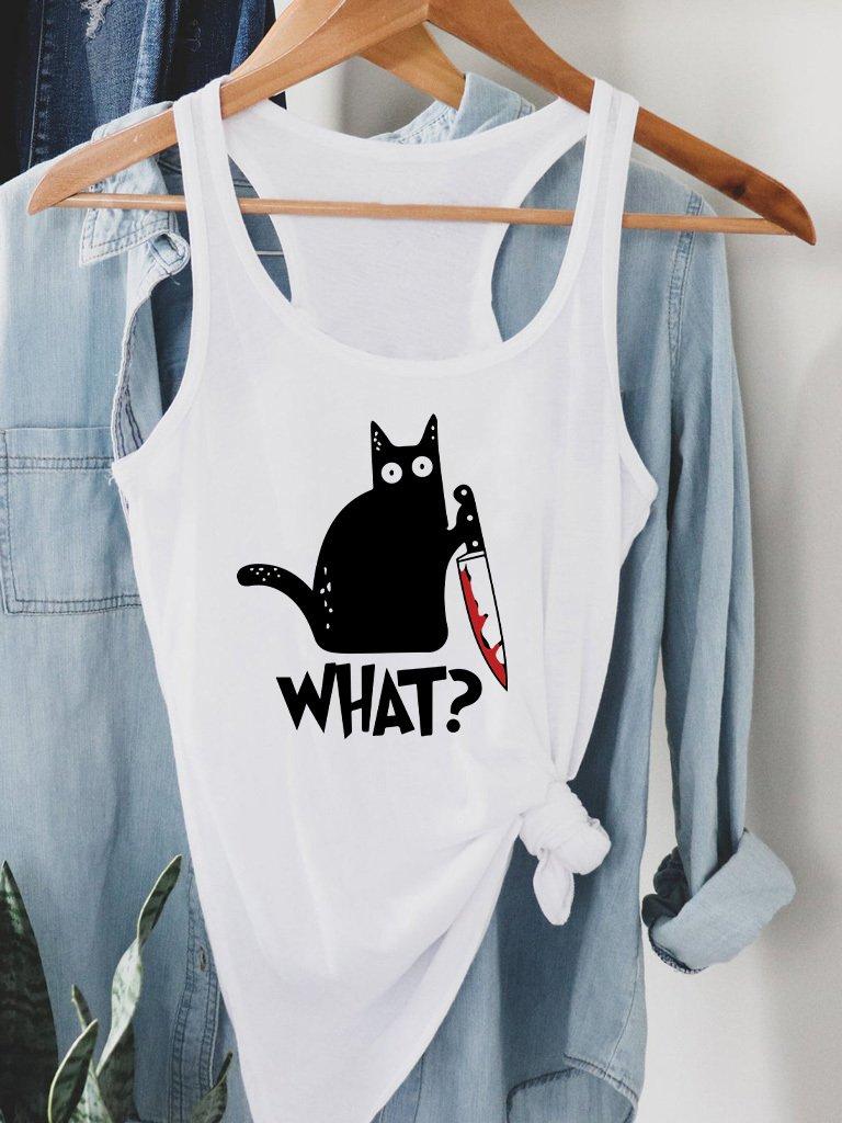"Biała koszulka na ramiączkach CAT SAYS ""WHAT?"" Love&Live"