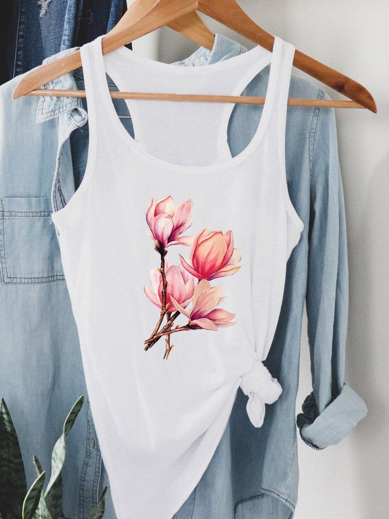 Biała koszulka na ramiączkach Bukiet Magnolii Love&Live