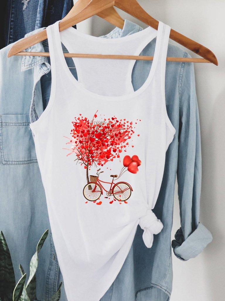 Biała koszulka na ramiączkach Drzewo miłości Love&Live