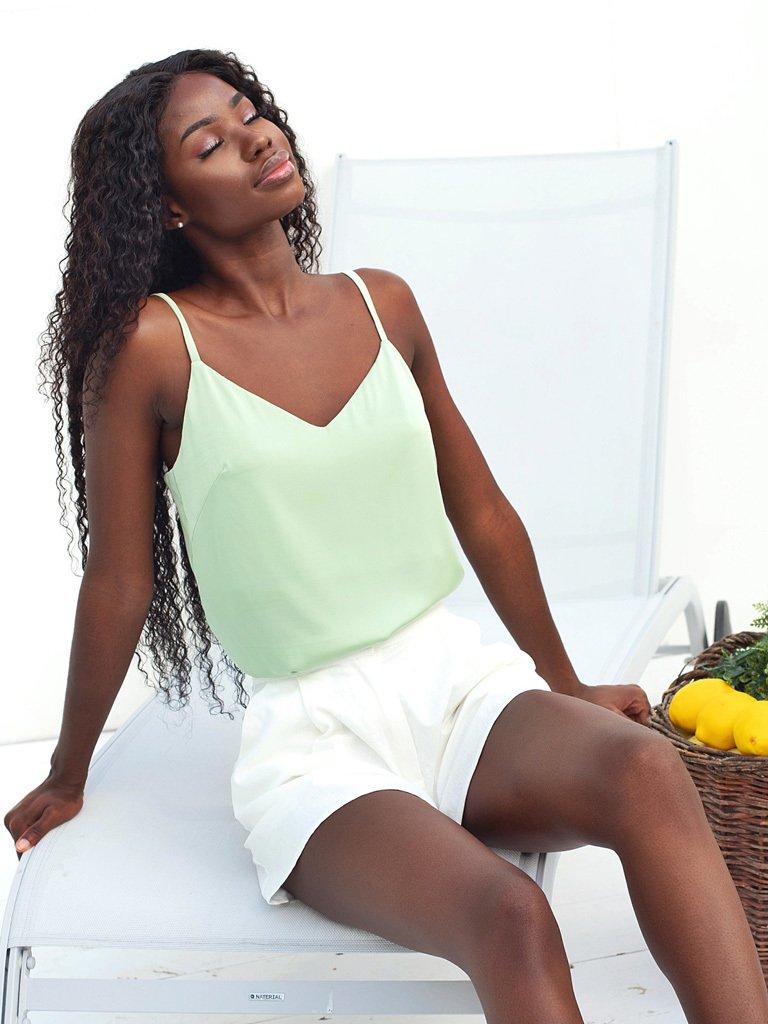 Koszulka w stylu bielizna na ramiączkach oliwkowa KATARINA IVANENKO