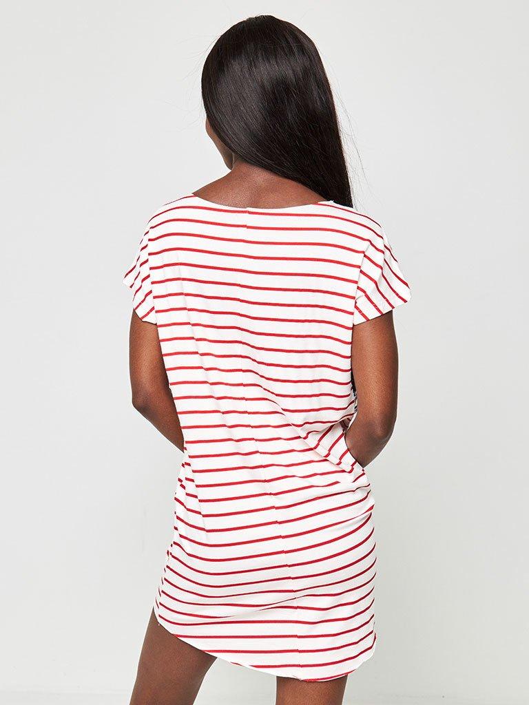 Sukienka koszulkowa biała w czerwone paski Love&Live