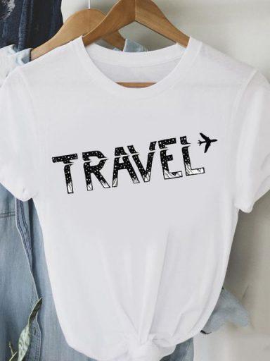 T-shirt biały Air travel Love&Live