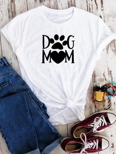 T-shirt biały Dog mom-2 Love&Live