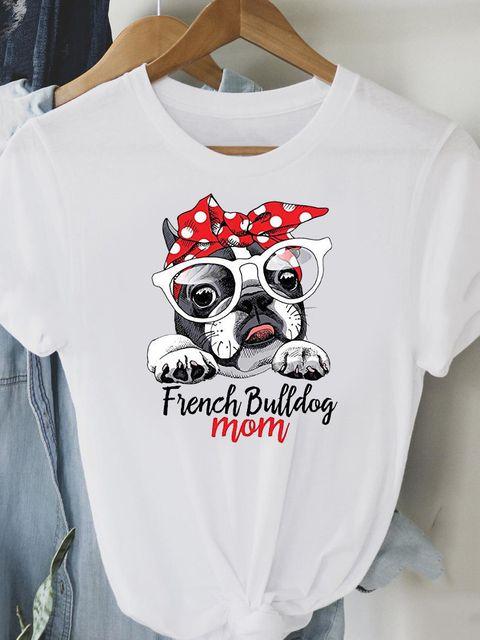 T-shirt biały French Bulldog mom Love&Live