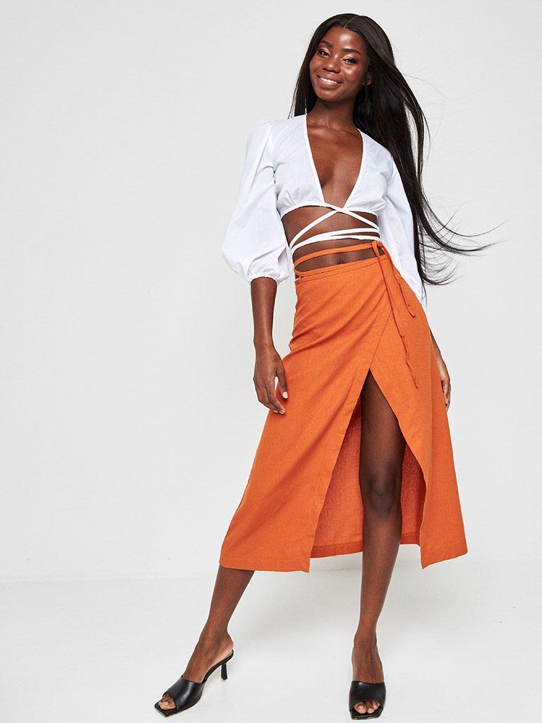 Pomarańczowa spódnica midi z rozcięciem Katarina Ivanenko