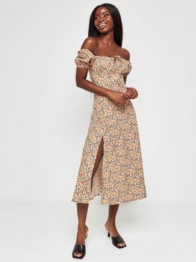 Beżowa sukienka midi w kwiatowy print z wiązaniem na piersi Katarina Ivanenko