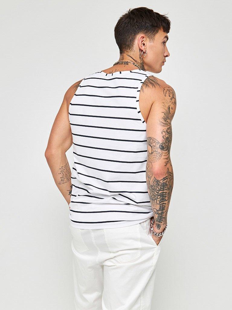 Koszulka męska bez rękawów biała w niebieskie paski Love&Live