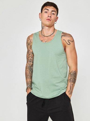 Koszulka męska bez rękawów khaki Love&Live