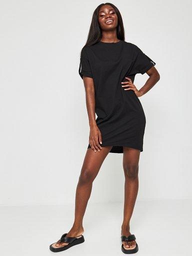 Sukienka koszulkowa czarna z kieszonką mini Love&Live