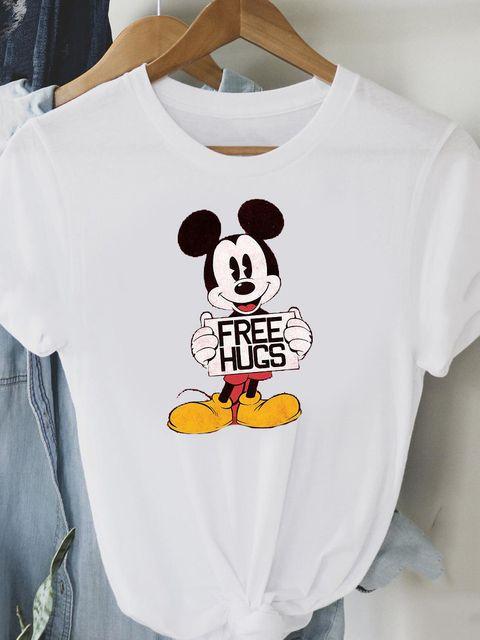 T-shirt biały Mickey free hugs Love&Live