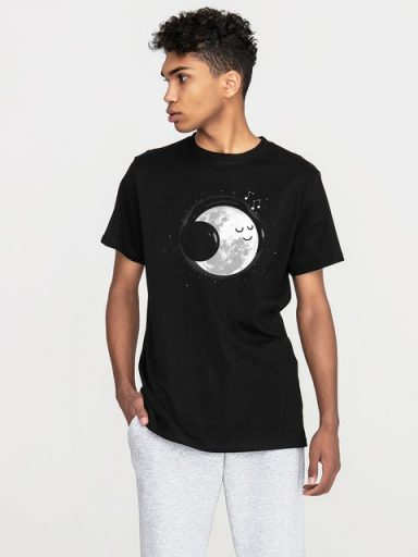 T-shirt męski czarny Moon music lover Love&Live