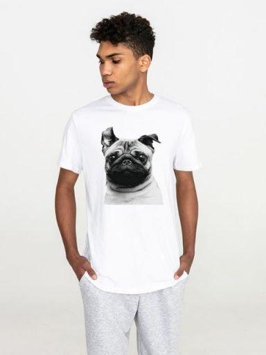 T-shirt męski biały Mops Love&Live