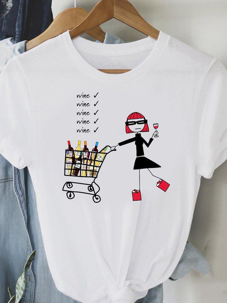 T-shirt biały MORE WINE FOR MINE Love&Live