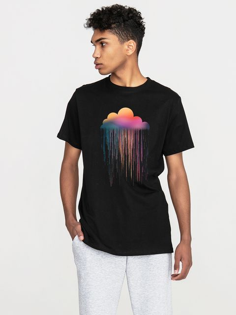 T-shirt męski czarny Rainbow rain Love&Live