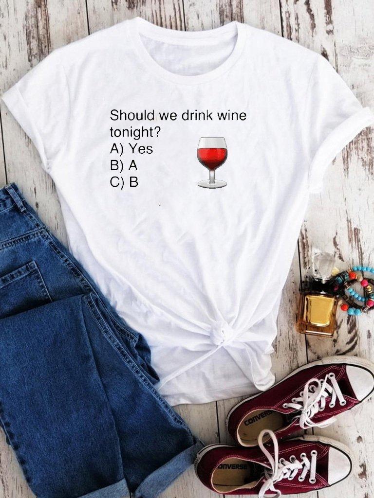 T-shirt biały Should you drink wine Love&Live