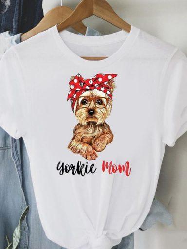 T-shirt biały Yorkie mom Love&Live