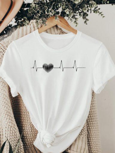 T-shirt biały CARDIOGRAPHY ZUZU