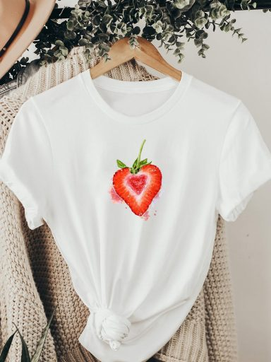 T-shirt biały TRUSKAWKOWE SERCE ZUZU
