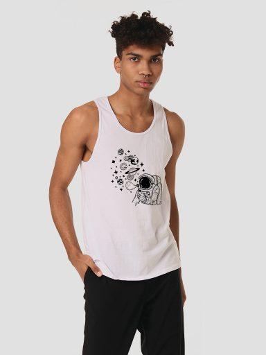 Koszulka męska bez rękawów biała KOSMICZNE BĄBELKI Love&Live
