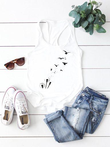 Biała koszulka na ramiączkach LATAĆ Love&Live
