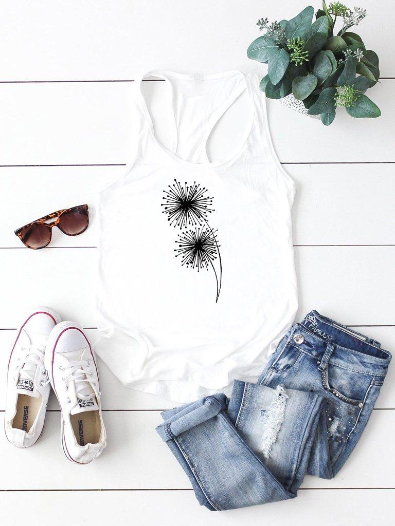 Biała koszulka na ramiączkach Mniszek lekarski Love&Live