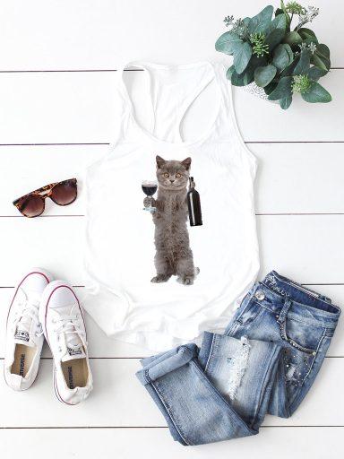 Biała koszulka na ramiączkach PIĄTEK Love&Live