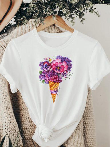 T-shirt biały WAFLI KWIATY ZUZU
