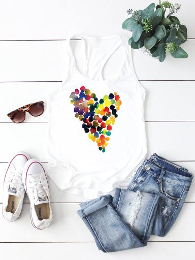 Biała koszulka na ramiączkach JASNE SERCE Love&Live