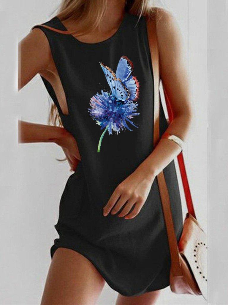 Sukienka koszulkowa czarna NIEBIESKI MOTYL Love&Live