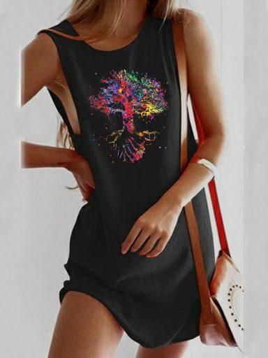 Sukienka koszulkowa czarna Drzewo życia Love&Live