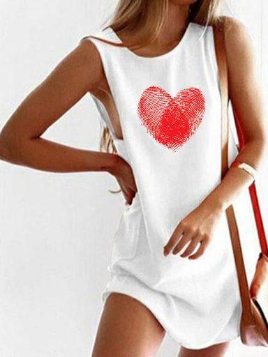 Sukienka koszulkowa biała ZNAK MIŁOŚCI Love&Live