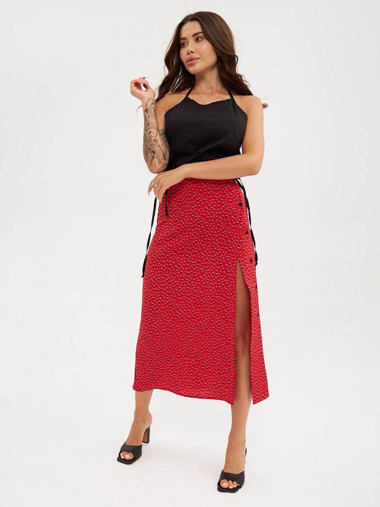 Czerwona spódnica midi w czarne kropki z bocznym rozcięciem i guzikami Love&Live